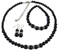 Black Pearls Neckalce Set Sterling Silver 92.5 Earrings Stretchable Bracelet