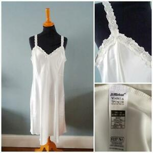 Vintage 1990s Nightgown Nightdress St Michael Ivory Satin Lace Ladies Size 18