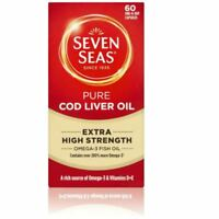 Seven Seas Pure Cod Liver Oil EXTRA HIGH STRENGTH 60 Capsules - 2 Pack