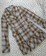 Susina plaid coat womens M pleated bottom button front jacket 4A