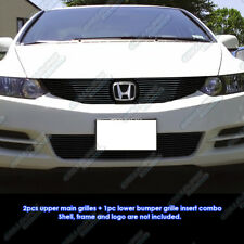Custom Fits 2009-2011 Honda Civic Coupe Black Billet Grill Combo