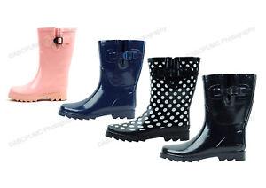 New Womens Rain Boots Rubber Short Garden Wellies Mid Calf Snow Shoes Sizes:5-11
