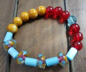 Glass Bead Blue Red Yellow Stretch Bracelet Fun Bohemian Boho Chic Jewelry