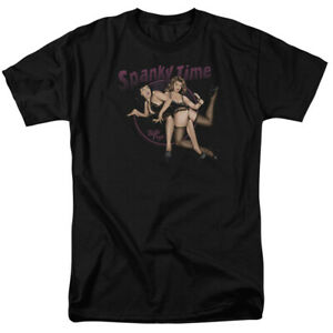 Bettie Page Spanky Time 2 T Shirt Licensed 1950 Queen Of Pinups Model Tee Black