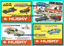CORGI HUSKY Juniors BOND BATMOBILE crimebusters ZIO Set di 4 poster volantini