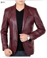 New Men's Genuine Lambskin Leather Blazer Jacket TWO BUTTON Leather Coat 06