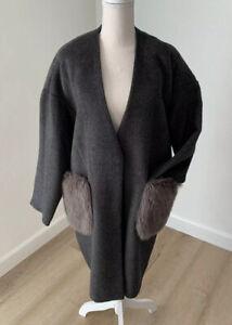 Oversized Coat Jacket with Fur Pockets - Medium