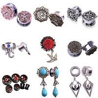 EE_ 1 Pair Ear Gauges Ear Plugs Dangle Flesh Tunnels Ear Stretching Jewelry Nove