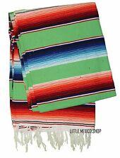MULTI LIME GREEN SERAPE Mexican Blanket SOUTHWESTERN 5' x 7' Falsa Serape Throw