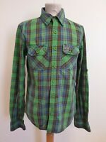 EE58 MENS SUPERDRY GREEN BLUE YELLOW ROLL SLEEVE SLIM FIT SHIRT UK M EU 50