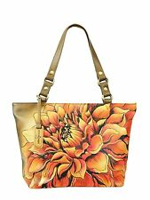 Anuschka Leather Classic Large Tote in Dreamy Dahlias Bronze Flower Orange Tan