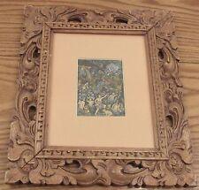 Signed vintage miniature Bali painting Ubud Suweka Keliki ornate carved frame
