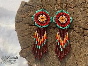 Native American style Beadwork, Huichol Flower style earrings
