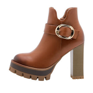 New Winter Women's Buckle Thick-Soled Pointed Toe High-Heel Ankle Boots Oversize