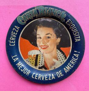 Mexican vintage tip tray Carta Blanca Pin Up elegant Señorita w/ beer cup 1950s