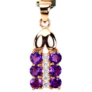 NATURAL AAA PURPLE AMETHYST ROUND  & WHITE CZ STERLING 925 SILVER PENDANT