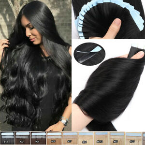 """40PCS 100G Remy Tape in Real Human Hair Extensions Russian 12""""-24"""" Thick BLACK"""