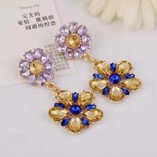 Fashion Crystal Blue Gemstone Flower Dangle Drop Earring Ear Studs Jewelry