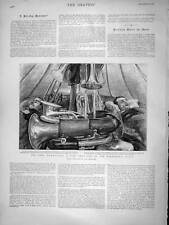 Original Old Antique Print 1896 Army Manoeuvres Bandsmen Tent Instruments 19th