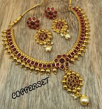 Indian Bollywood Jewelry Pearl Stone Studded Choker Bridal Jewelry Necklace Set