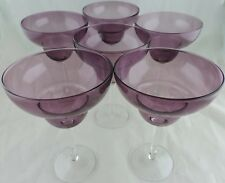 AMETHYST & CLEAR MARGARITA COCKTAIL LARGE GLASS SET 6 STEMWARE BARWARE