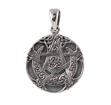 Sterling Silver Pentacle Moon Pendant - Dryad Design Wicca/Pagan Talisman/Amulet