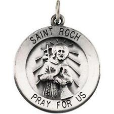 "MRT St Roch Sterling Silver Medal Patron Saint of Dogs Pendant 3/4"" w Chain Boxd"