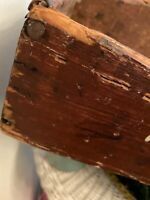Vintage Antique Primitive Wood Cutlery Knife Box Tray Carrier Oxblood Original