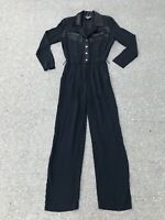 Vintage 80's Black Satin Crepe Jumpsuit PG Collections Ginger Bort 6 Rhinestones