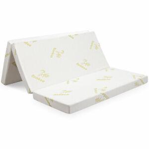 """Giantex 4"""" Queen Size Folding Foam Mattress Tri-fold Sofa Bed Guest Floor Mat"""