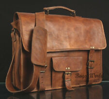 15 Inches Handmade Leather Messenger Front Small Pocket Bag Pure Leather