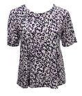 Womens 16-24 New Stretch Purple Pink Print Short Sleeve Tops T shirt Bnwt *LICK