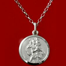 """Solid Sterling Silver St Saint Christopher Pendant Chain 18"""" Necklace & Gift Box"""