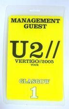 U2 - Vertigo 2005 Tour Glasgow Yellow Backstage Pass - New Official Band Merch