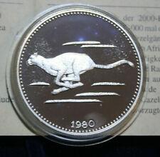 """Äquatorial Guinea: 2000 Ecuele 1980 Silber """"Gepard"""" F#3051 Nur 1000  Extrem rar"""