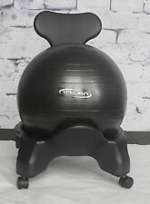 Fit-Ball Holder Chair W Caster Wheels and Back Posture Support Fitness Balance