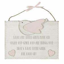 Vintage Style Wooden Baby Girl What Little Girls Are Made Of Plaque CG1297P