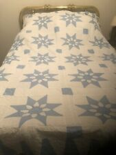 Vintage Amish handmade quilt. Blue and white Blooming Star Identical Pair
