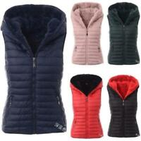 Women Lined Quilted Cotton Vest Jacket Hooded Zip Warm Puffer Waistcoat S-5XL D