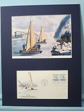 Courier & Ives - Ice Boat Sailing on the Hudson River & the First day Cover
