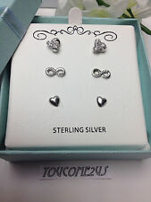 w/ Cz Stones Infinity Heart New (3) Pairs Genuine Sterling Silver 925 Earrings
