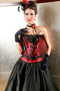 Ladies Stylish Black & Red Burlesque Boned Corset Bustier & Thong Size 10-14