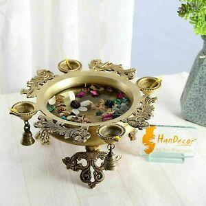 Two Moustaches Brass Peacock Urli with 4 Diyas
