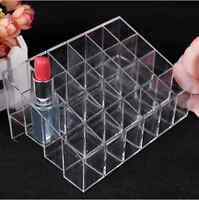 Clear Acrylic 24 Lipstick Holder Display Stand Cosmetic Organizer Makeup Case E