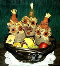 SET OF 3 PRIMITIVE GRUNGY COUNTRY FALL THANKSGIVING OWL DOLLS BOWL FILLERS