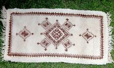"VINTAGE HAND HOOKED RECTANGULAR TRADITIONAL LOOKING FRINGED RUG  21"" X 48"""