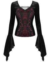 Dark In Love Womens Gothic Top Black Red Damask Velvet Steampunk Victorian Witch