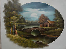 Original Painting Canvas by NATHAN Impressionism Stone Bridge Moon Lake Cabin