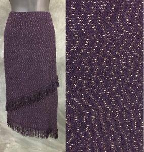 NWT BEAUTIFUL St John collection knit aubergine purple multi skirt size 6 NEW