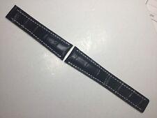NEW 22MM BLACK GENUINE LEATHER STRAP DEPLOYMENT WATCH BAND BREITLING NAVITIMER